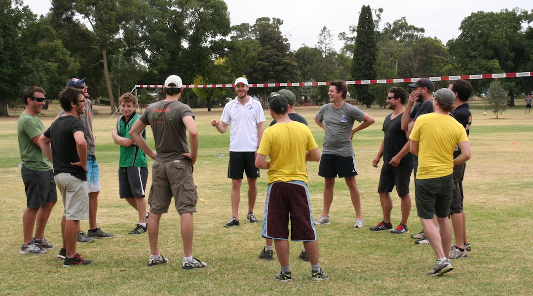 Jan 17-18, 2014 - IFA representative (and Austrian National Fistballer) Klemens Kronsteiner runs training and information sessions for interested Australian fistballers
