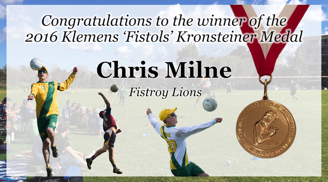 "Chris ""Super Mario"" Milne wins the 2016 Klemens 'Fistols' Kronsteiner Medal"